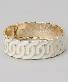 Another great find on #zulily! Gold & White Weave Bangle #zulilyfinds