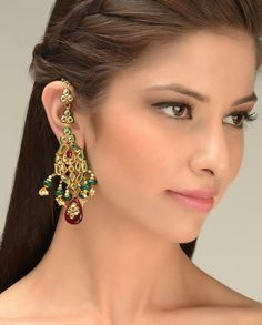 Kundan Earrings with Green Bead Drops  by Just Jewellery