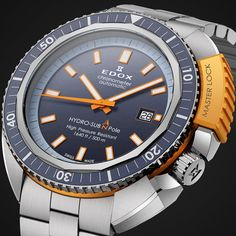EDOX Hydro Sub Edox relaunches a legend of the deep (See more at En/Fr/Es: http://watchmobile7.com/articles/edox-hydro-sub) #watches #montres #relojes #edox