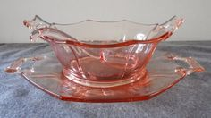 IMPERIAL PINK DEPRESSION MOLLY PATTERN MAYONNAISE BOWL UNDERPLATE & LADLE SET #ImperialGlass
