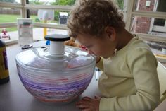 Salad spinner art - we are doing this.  I love this blog!