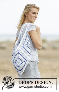 "Boho Blue - Crochet DROPS bag with square pattern in ""Paris"". - Free pattern by DROPS Design"