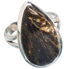 Golden Seraphinite 925 Sterling Silver Ring Size 8 RING768696
