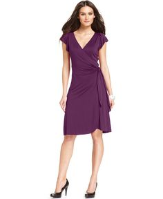 Studio M Dress, Flutter Sleeve Jersey Wrap - Womens Dresses - Macy's