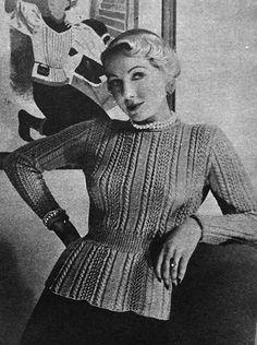 The   Vintage   Pattern   Files: 1950's Knitting - Peplum Jumper
