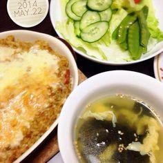 26.05.22 - 7件のもぐもぐ - カレードリア☆サラダ☆卵とワカメのスープ by mikaogihar7Yh