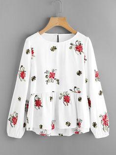 Модный топ с цветочной вышивкой