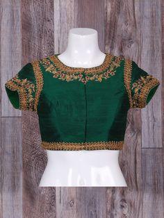Wonderful Silk Green Ready Made Blouse, saree blouse design