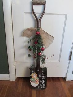 Antique Shovel Winter Decor Hand Painted Snowman Burlap Greens and Bells by LuRuUniques on Etsy