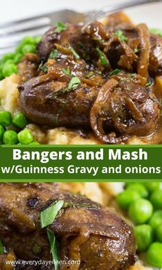 Bangers and mash tasty sausages braised in Guinness beer with caramelized onions over creamy mashed potatoes. A fabulous dinner for any night. Great for a traditional Irish meal for St. Entree Recipes, Side Recipes, Lunch Recipes, Beef Recipes, Sausage Recipes, Easy Recipes, Easy Family Dinners, Quick Easy Meals, Bangers And Mash Recipe