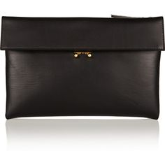 Marni Leather clutch (9.255 ARS) ❤ liked on Polyvore featuring bags, handbags, clutches, accessories, bolsas, clutch bags, black, leather clutches, real leather purses and hand bags