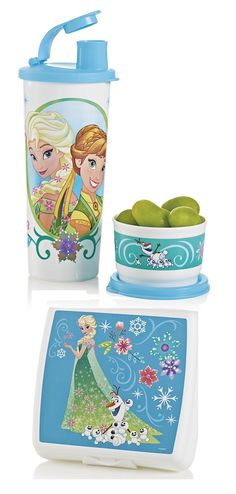 Disney Frozen Fever Lunch Set. Taste the adventure and unleash the magic of lunchtime fun! Set includes Sandwich Keeper, 4-oz./120 mL Snack Cup and 16-oz./420mL tumbler with liquid-tight seal and flip-out spout.
