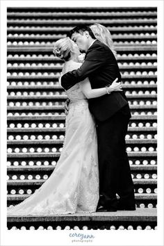 first kiss at wedding ceremony @hyattcleveland  in cleveland ohio by Corey Ann Photography