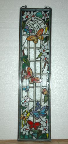 "9"" x 36"" Tiffany Style stained glass window panel flower butterfly garden"