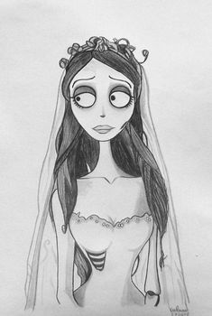 drawings tim burton Emily by Galaad-Phantom on DeviantArt Scary Drawings, Halloween Drawings, Cool Art Drawings, Pencil Art Drawings, Art Drawings Sketches, Disney Drawings, Cartoon Drawings, Cartoon Art, Creepy Sketches
