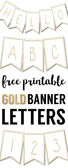 Free Printable Banner Letters Template. Complete gold letters and numbers for banners DIY to customize for a birthday party, wedding, bridal or baby shower.