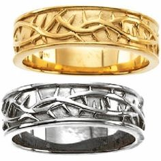 Crown Of Thorns Mens Wedding Ring 14k Yellow Religious Bands