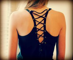Edge up a basic tank with lace up eyelet detailing. It instantly transforms a boring top into an edgy racerback!  Supplies: p...