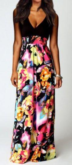 plunging neckline floral dress