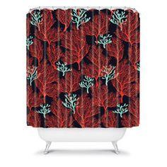 Sarah Watts Coralesque Navy Shower Curtain