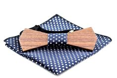 Elegant Wooden Bow Tie with matching Pocket Square, Limited Time Sale! Polka Dot Fabric, Polka Dots, Wooden Bow Tie, Walnut Wood, Pocket Square, Men Dress, Bow Ties, Buy And Sell, Bows