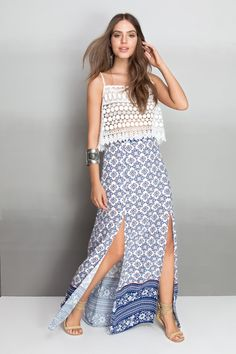 saia longa fendas estampada boat | Dress to