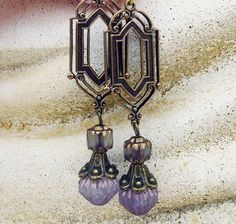 Art Deco  Earrings - Antique Gold, Bohemian Czech Glass, Purple, Dangle, Drop on Etsy, $23.00