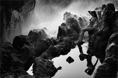 When the Water Falls B&W - Pinned by Mak Khalaf Anuschka on the Island of Lanzarote Black and White nuderocksseawoman by zurmuehle Photography Tours, Nude Photography, Black And White Photography, Les Oeuvres, Waterfall, Fine Art, Island, Artist, Pictures