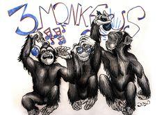Three Wise Monkeys By Lobothegrigori On DeviantART by Cenika Three Wise Monkeys, Hip Hop Art, Colored Pencils, Third, Lion Sculpture, Deviantart, Illustration, Tattoos, Fictional Characters