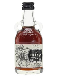 Kraken Rum is aged in oak barrels for between 12 and 24 months before being blended with over 11 spices, including vanilla, cinnamon, ginger and clove. Mini Alcohol Bottles Gifts, Miniature Alcohol Bottles, Mini Bottles, Hot Sauce Bottles, Le Kraken, Kraken Rum, Rum Bottle, Whiskey Bottle, Carafe
