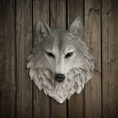 Wolf Head Faux Taxidermy - The Sierra - Natural Resin Animal Mount - Fauxidermy Ceramic Fake Wall Decor - Decorative Plastic Mounted Replica...