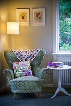 I want to sit and read in this corner. I especially love the chair and throw...Design by Craft and Creativity