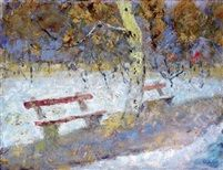 Benches oil tempera on canvas 50,5 x 65 cm