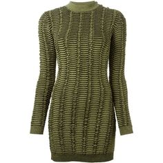 BALMAIN Fitted Ribbed Sweater ($1,381) ❤ liked on Polyvore featuring tops, sweaters, dresses, balmain, round neck sweater, green sweater, long sleeve sweater, ribbed top and round neck top
