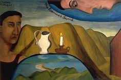 Colin McCahon, The Promised Land 1948 Auckland Art Gallery, Rockwell Kent, Colin Mcrae, New Zealand Art, Nz Art, Landscape Artwork, Contemporary Artwork, Amazing Art, Oil On Canvas