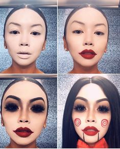 Are you looking for ideas for your Halloween make-up? Navigate here for creepy Halloween makeup looks. Maquillage Halloween Clown, Creepy Halloween Makeup, Halloween Looks, Halloween Eyes, Horror Halloween Costumes, Halloween Costumes Women Creative, Amazing Halloween Makeup, Scary Halloween Costumes, Halloween Photos