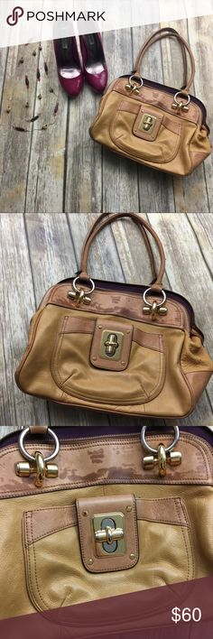 B Makowsky Brown Rustic Leather Purse Brown rustic leather purse. In excellent used condition only flaw is on medal in the front of purse has some scratches. 10 inch depth. 13 inch length. 7 inch width. Has 2 large pockets 3 regular size pockets. Purple gorgeous lining. b. makowsky Bags Shoulder Bags