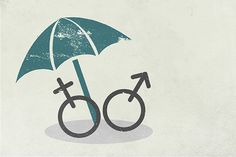 The image shows an open umbrella covering male and female gender symbols.(Money Management).