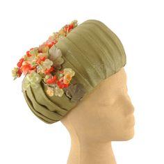 Vintage 60s Sage Green Romantic Floral Avant Garde Shimmer Custom Made Hat 21 | eBay
