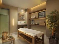 Nice and relaxing color palette spa room Massage Room Decor, Massage Therapy Rooms, Spa Room Decor, Home Decor, Massage Table, Massage Chair, Deco Spa, Esthetics Room, Spa Treatment Room