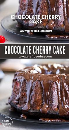 Triple or quadruple chocolate cherry cake (if you use the milk stout instead of milk). Decadent flavors, can be baked in bundt pan, 9x13 baking sheet pan or two round 9 inch cake pans. Beer Recipes, Mexican Food Recipes, Real Food Recipes, Baking Recipes, Dessert Recipes, Desserts, Chocolate Cherry Cake, Chocolate Ganache, Cooking With Beer