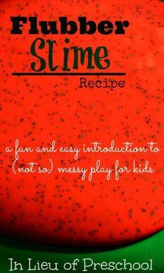 Flubber Slime Recipe - Messy Play - In Lieu of Preschool