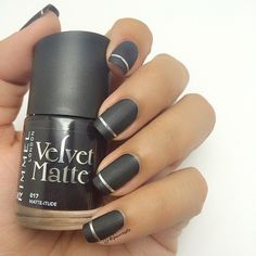Matte Grey Nails with Silver Accent
