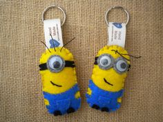 Minion - despicable me keychain or ornament, hand cut and stuffed with polyester filling.