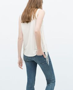 ZARA - NEW THIS WEEK - T-SHIRT WITH SIDE FRINGES