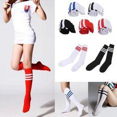 c7a9d188e9e Hot Men Ladies Stripe Soccer Football Running Knee High Tube Socks Sports   Unbranded  KneeHigh