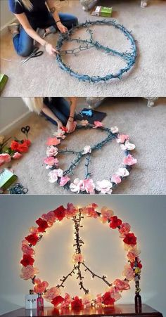 DIY Hula Hoop Peace Sign Wall Decor! This is so rad. Adding a few light up flowers around the brim would really make this peace sign pop! http://www.flashingblinkylights.com/light-up-products/light-up-decorations/led-decorations/fiber-optic-flowers-in-assorted-colors.html
