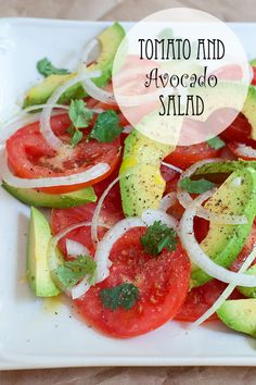 Tomato and Avocado Salad from @NevrEnoughThyme http://www.lanascooking.com/2014/06/27/tomato-and-avocado-salad/ #avocado #tomatoes #salad