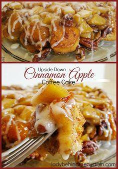 Upside Down Cinnamon Apple Coffee Cake | This gooey easy breakfast treat is made with store bought cinnamon rolls. The perfect weekend breakfast. Tasty and easy!
