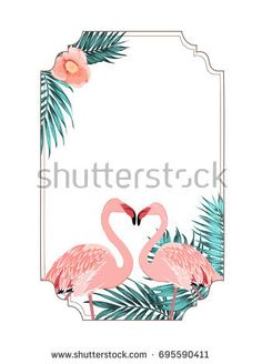 flamingo beak template - flamingo tropical decorative horizontal border frame